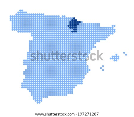 Map of Spain with stylized map of Navarre made from blue dots - stock photo