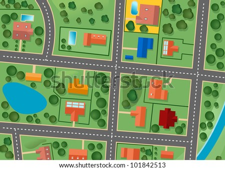 Map of suburb district for sold real estate design. Vector version also available in gallery - stock photo