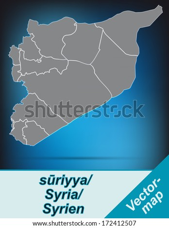 Map of Syria with borders in bright gray - stock photo