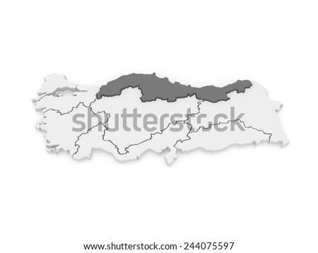 Map of The Black Sea region. Turkey. 3d - stock photo