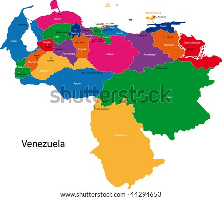 Map of the Bolivarian Republic of Venezuela with the states colored in bright colors and the main cities - stock photo