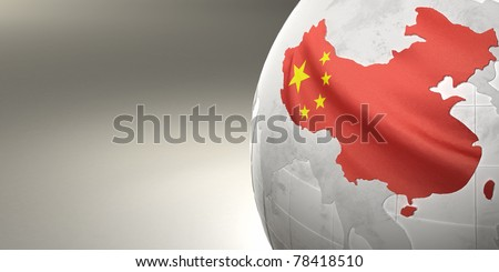 Map of the China on Earth in the national colors. 3D - stock photo