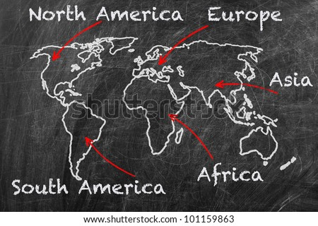 Map of the continents concept. World map on a blackboard - stock photo