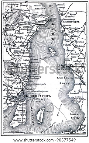 map of the Copenhagen - an illustration of the encyclopedia publishers Education, St. Petersburg, Russian Empire, 1896 - stock photo