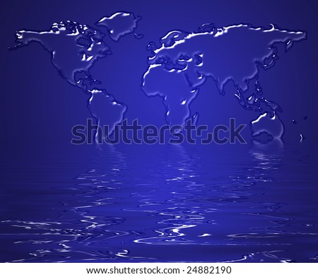 Map of the earth made from water suggesting melting of the earth as a concept - stock photo