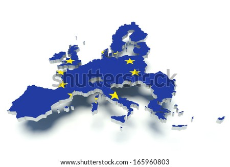 Map of the European Union with flag colors. 3d render illustration. - stock photo