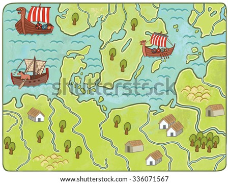 Map of the Middle Ages. Illustration in a children's style. - stock photo