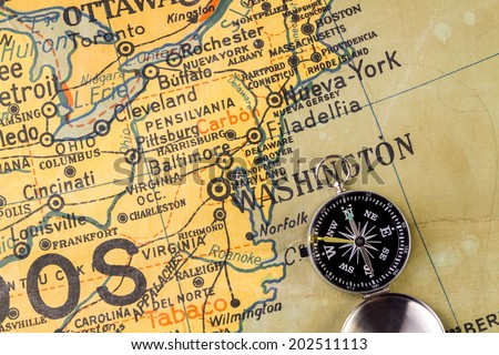 Map of the Northeastern USA written with misspellings. It comes from a Spanish school. Published 1969.  - stock photo