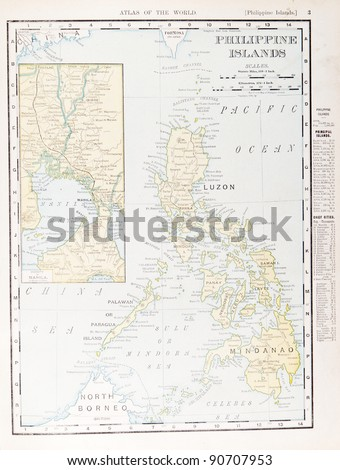Map of the Philippine Islands from Spofford's Atlas of the World, printed in the United States in 1900, created by Rand McNally & Co. - stock photo