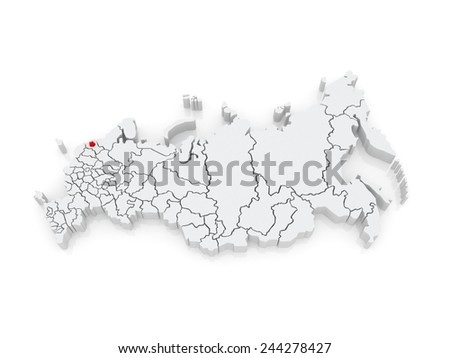 Map of the Russian Federation. St. Petersburg. 3d - stock photo