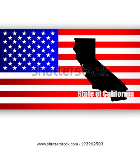 Map of the U.S. state of California - stock photo