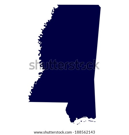 map of the U.S. state of Mississippi  - stock photo