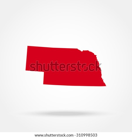 map of the U.S. state of Nebraska - stock photo