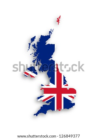 Map of the United Kingdom of Great Britain and Northern Ireland with national flag, isolated - stock photo