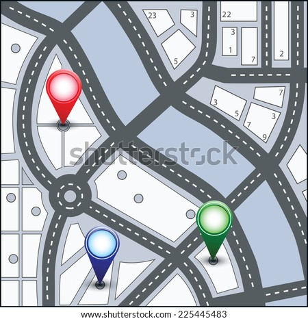 Map of the urban area in various colors - stock photo