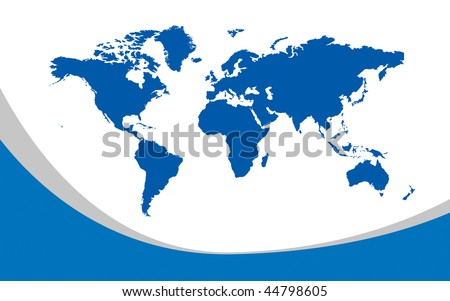 Map of the whole world. Images of all continents and oceans on a flat - stock photo