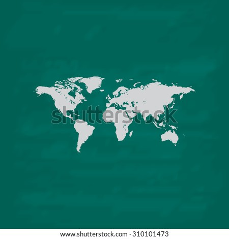 Map of the world.  Icon. Imitation draw with white chalk on green chalkboard. Flat Pictogram and School board background. Illustration symbol - stock photo