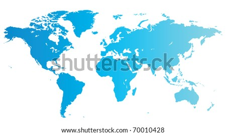 Map of the World in blue color. Raster version. Vector version is also available. - stock photo