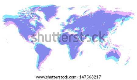 Map of the World in old typographic offset style. Raster version. Vector version is also available. - stock photo