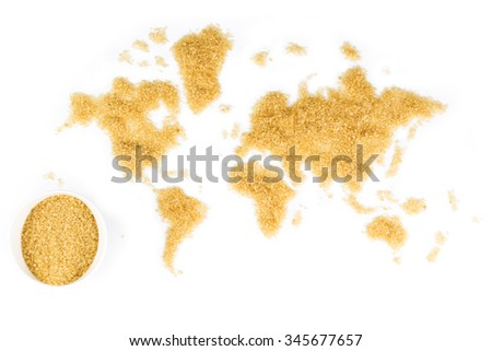 map of the world made of cane sugar on white background with white ceramic bowl full of cane sugar - stock photo
