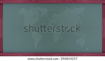 map of the world on chalkboard with wood frame. - stock photo