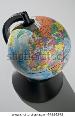 Map of the world showing Europe and Africa on white - stock photo