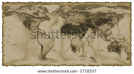 Map of the world with burnt edges - stock photo