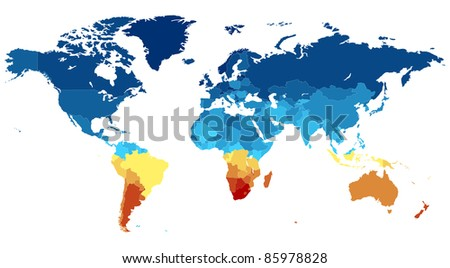 Map of the World with countries in various colors. Raster version. Vector version is also available. - stock photo