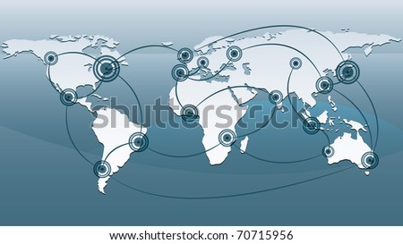 map of the world with spots connected to each other - stock photo