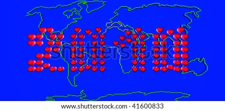 Map Of The World With 2010 Written In Hearts. 3d Render - stock photo
