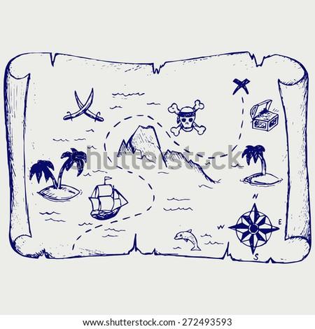 Map of treasure island. Doodle style. Raster version - stock photo