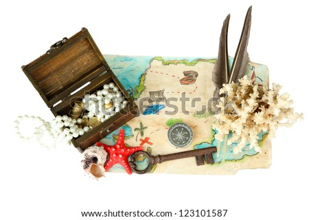 map of treasures isolated on white - stock photo