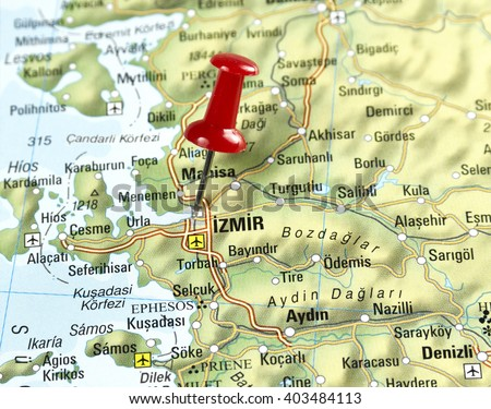 Map of Turkey with pin set on Izmir. - stock photo