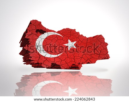 Map of Turkey with Turkish Flag on a white background - stock photo