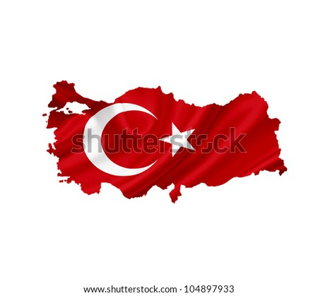 Map of Turkey with waving flag isolated on white - stock photo