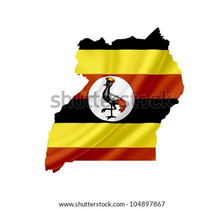 Map of Uganda with waving flag isolated on white - stock photo