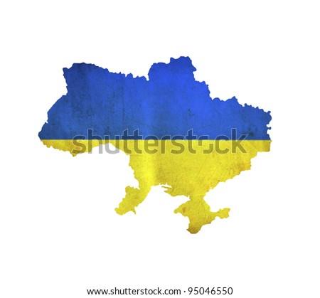 Map of Ukraine isolated - stock photo