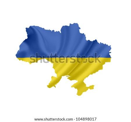 Map of Ukraine with waving flag isolated on white - stock photo
