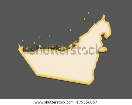 Map of United Arab Emirates (UAE). 3d - stock photo