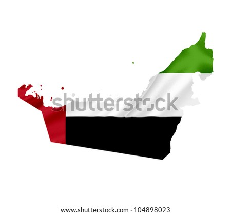 Map of United Arab Emirates with waving flag isolated on white - stock photo
