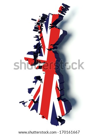 Map of United Kingdom with flag colors. UK 3d render illustration.  - stock photo
