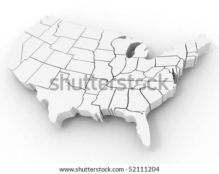 Map of USA. 3d - stock photo