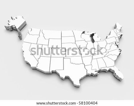 Map of USA. 3D render - stock photo