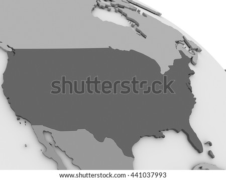 Map of USA on grey model of Earth. 3D illustration - stock photo
