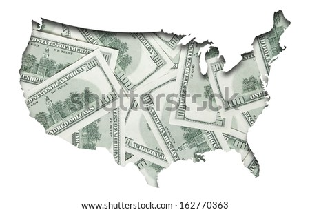 map of USA with back side of one hundred dollars background - stock photo