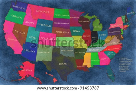 Map of USA with states - stock photo