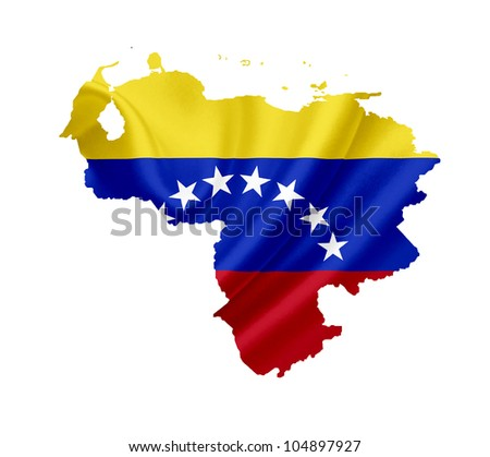 Map of Venezuela with waving flag isolated on white - stock photo