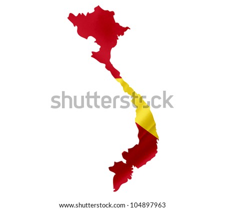 Map of Vietnam with waving flag isolated on white - stock photo