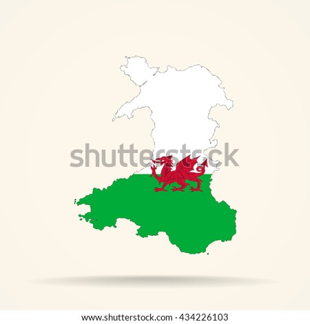 Map of Wales in Wales flag colors