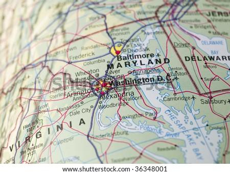 Map of Washington D.C. - stock photo